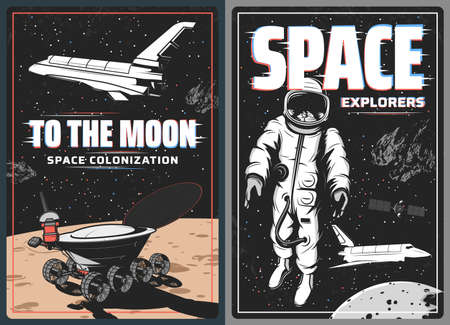 Space astronaut, spaceship and Moon planet retro vector posters with glitch effect. Universe galaxy rocket, spaceman, shuttle and satellite, lunar and spacesuit, space travel and exploration