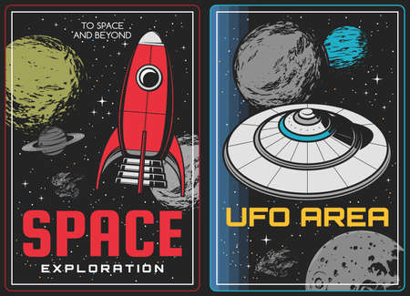 Space exploration and aliens discovery posters. Vintage rocket or spaceship and alien flying saucer spacecraft in outer space, moon and saturn, far planers and asteroids vector. Galaxy travel banner