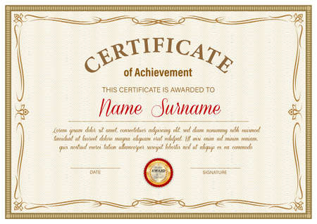 Certificate of achievement vector template, diploma border ornate design. Official award frame, paper document for winner appreciation or graduation with golden stamp and place for name and surname