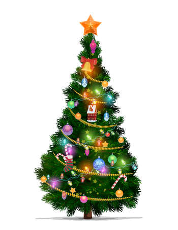 Christmas tree with cartoon vector Xmas star, balls and New Year gifts. Christmas fir or pine tree, decorated with Xmas ornaments, glowing lights, canes and stocking, bell, ribbon and serpentine