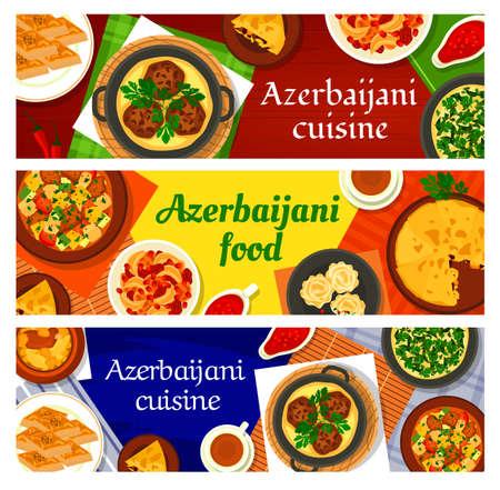 Azerbaijani cuisine vector walnut baklava, shah pilaf, chicken cornel, stew ovrishta and pomegranate sauce narsharab. Fish pie kyata, lamb vegetable stew choban govurma and lamb chickpea stew piti