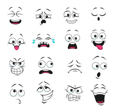 Face expression isolated vector icons, funny cartoon emoji boring, crying and thoughtful, gnash teeth, angry, laughing and sad. Facial feelings, emoticons upset, happy and show tongue cute faces set