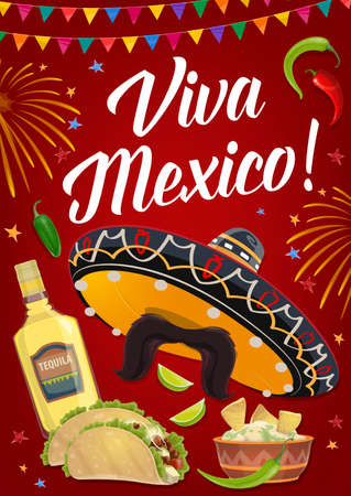 Viva Mexico vector banner with Mexican holiday food, Cinco de Mayo fiesta party sombrero hat, chilli peppers and tequila, tacos, nachos and avocado guacamole. Greeting card or invitation poster design Vector Illustration