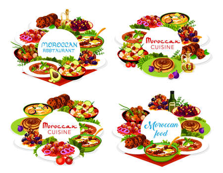 Moroccan food vector pomegranate beetroot salad, fig cake, chicken soup, couscous salad with vegetables. Balkan cold eggplant soup, pie with dates and egg meat with prunes and almond, Morocco cuisine Çizim