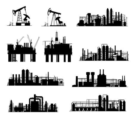Oil and gas industry vector silhouettes. Petroleum refinery factories, drilling rigs, energy plants and derrick pumps, oil offshore platforms and pumpjacks with pipes, towers and cranes Vector Illustration