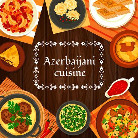 Azerbaijani cuisine vector shah pilaf, chicken cornel, stew ovrishta. Herb omelette kuku, tava kebab, pomegranate sauce narsharab. Fish pie kyata, lamb vegetable stew choban govurma, walnut baklava Çizim