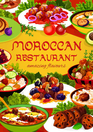 Moroccan restaurant food vector almond, pomegranate beetroot salad, fig cake, chicken soup. Couscous salad with vegetable, payla, meatballs with tomato paste and egg, cuisine of Morocco cartoon poster