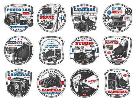 Retro cameras for photo and video vector icons. Vintage photographing optical technics equipment store. Professional lab, photographers technics, film cinema festival isolated labels and emblems set