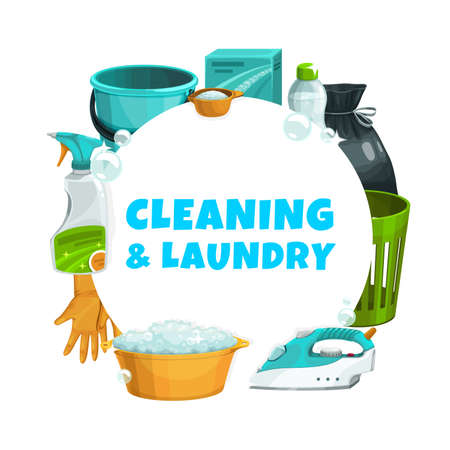 Cleaning and laundry service, clean house and washing, vector detergents and household cleaners. Home cleaning service and laundry washing soap bubbles, window cleaner spray and water bucket