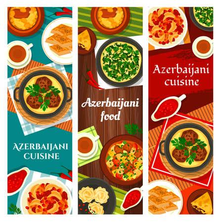 Azerbaijani food vector meals walnut baklava, shah pilaf and stew ovrishta. Herb omelette kuku, tava kebab, fish pie kyata or lamb vegetable stew choban govurma with, lamb chickpea stew piti dishes