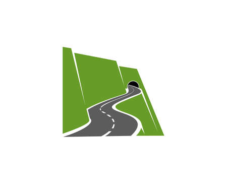 Winding mountain road or highway with tunnel in cliff icon. Speed freeway, driveway or pathway on sidehill or steep mountainside going in tunnel vector. Road travel voyage, transportation emblem