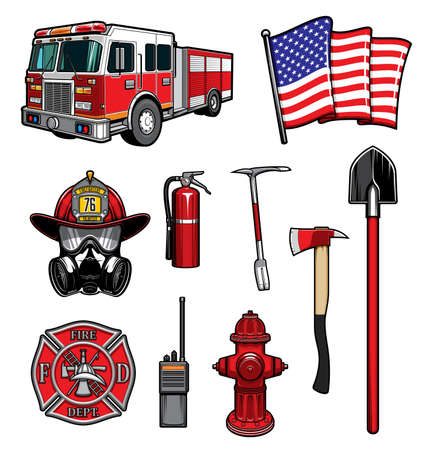 Firefighting vector icons red protective helmet and gas mask, fire ax and shovel, extinguisher, hydrant and walkie talkie. Fire truck, american flag and badge of department. Firefighter labels set Иллюстрация