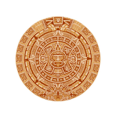 Mayan calendar vector ancient mexican round stone with hieroglyph symbols. Aztec culture, religion and tradition sculpture, astrological calendar with face show tongue isolated on white background