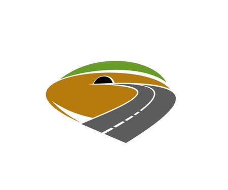 Freeway path, speed road going in tunnel icon. Highway, motorway or mountain backroad turn in tunnel vector. Transportation industry emblem and road voyage or trip design element