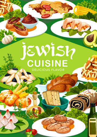 Jewish cuisine dishes vector banner. Matzah, challah bread and poppy seed roll, potato latkes, liver pate and chicken breasts, coconut pyramids, hamantash and zemelah, fish balls, black radish salad