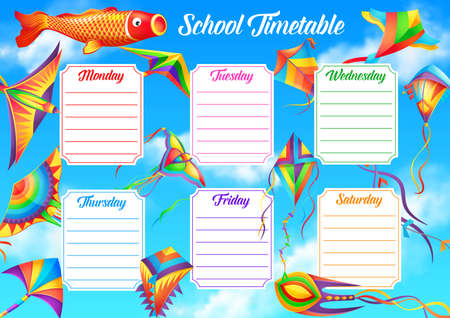 School timetable template with flying in sky kites. Student lessons schedule, child education classes planner and weekly chart. Paper kites in shapes of bird, fish and butterfly cartoon vector 向量圖像