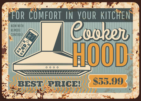 Cooker hoods, kitchen exhausts metal plate rusty, vector retro poster. Home stove ranges and restaurant cooking smell extractors, professional air cleaning equipment, metal plate with rust