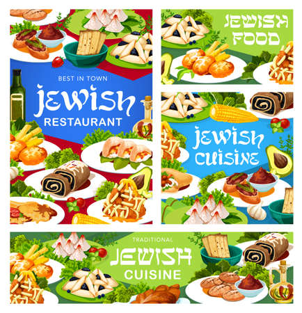 Jewish restaurant vector banners with pastry and meat meals. Chicken breast, liver pate and fish balls, matzah, poppy seed roll and coconut pyramids, hamantash, zemelah, potato latkes and radish salad