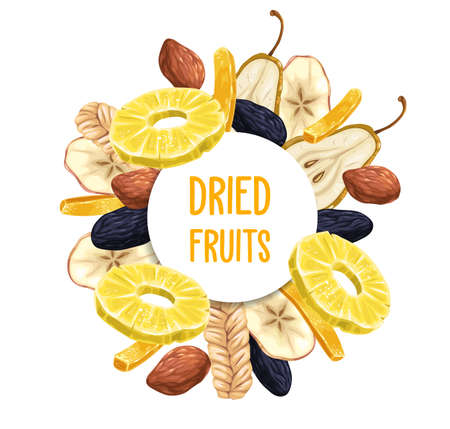 Dried fruits round poster or frame. Pineapple ring, prunes or damson and candied ginger strip, pear slice, dates and dry melon sketch vector. Dried and crystallized fruits vegetarian dessert banner
