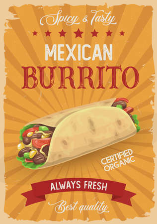 Mexican burrito vector retro poster, hot roll, doner kebab or shawarma with salad and meat, vintage grunge promo card. Mexico cuisine appetizer, street takeaway food cafe, fastfood restaurant meal ad