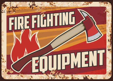 Fire fighting, emergency service rescue equipment rusty metal plate. Firefighter or fireman pickhead ax, flame sign vector. Equipment and tools for emergency situations rescuing works retro banner