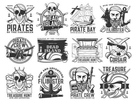 Pirate icons, vector Jolly Roger skulls or skeleton heads, black flag, captain tricorn sailor hat, crossed bones, swords or sabers and anchor with spyglass. Dead island, flibusters piracy symbols Vetores