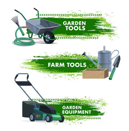 Farming and gardening tools, garden and farm equipment, vector banners. Agriculture farm and garden plants tools, seedling spade and rake, lawn grass mower and watering hose with wheelbarrow Çizim