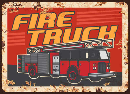 Fire truck with extension ladder and water tender. Fire department, emergency situations service vehicle or rescue team engine vector. Firefighters squad car rusty metal plate or retro banner