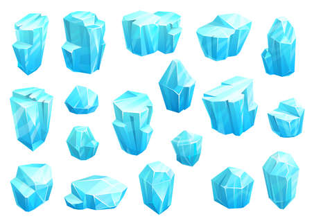 Ice crystals, blue magic gems vector icons. Jewel rocks or mineral stones isolated natural turquoise gemstone zircon, apatite, lapis lazuli, opal or quartz glass. Cartoon jewelry or ice crystals set