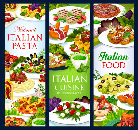 Italian cuisine vector food melon horned with ham, Italian meatballs, cannelloni, zampone with lentils. Beef tartare, chops with pesto sauce and raviolo, salad with mozzarella, meals of Italy banners
