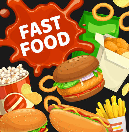 Fast food vector burgers and combo snacks. Hamburger with lettuce and vegetables, french fries, nuggets and pop corn, onion rings, hot dog and chips. Street food meals cartoon poster with ketchup spot