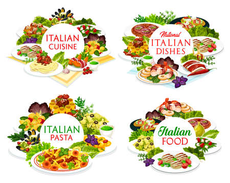 Italian cuisine vector dishes melon horned with ham, Italian meatballs and cannelloni, salad with mozzarella. Spaghetti with bolognese, farfalle, focaccia with ham and cheese, funghetto round frames
