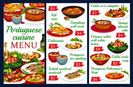 Portuguese vector menu template dumplings with meat, caldeirada and rice pudding. Turkish mackerel sandwich, vintage almond cake. Octopus salad with white beans, caldy verde soup Portugal food dishes