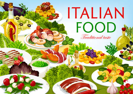 Italian food cuisine vector dishes melon horned with ham, cannelloni, chops with pesto sauce, raviolo, tortellini and spinach pasta with mussels. Shrimp with pear and funghetto meals of Italy poster