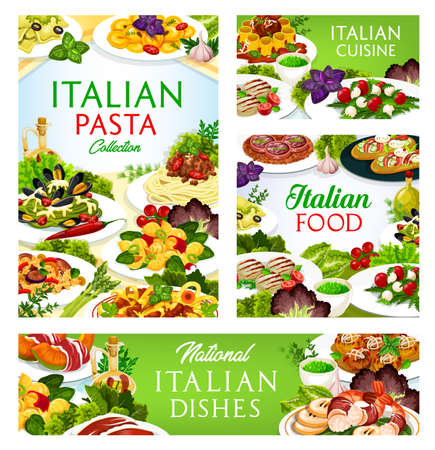 Italian cuisine vector dishes melon horned with ham, cannelloni, zampone with lentils, beef tartare. Chops with pesto sauce, tortellini, tagliatelle, focaccia with ham and cheese Italia meals posters Vettoriali