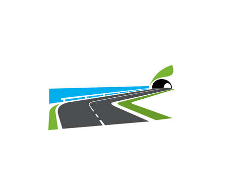 Speedway turn, seacoast road with tunnel icon. Highway on sea or ocean shore, coastal motorway with roadside railing and tunnel in hill or mountain vector. Transportation and road travel emblem