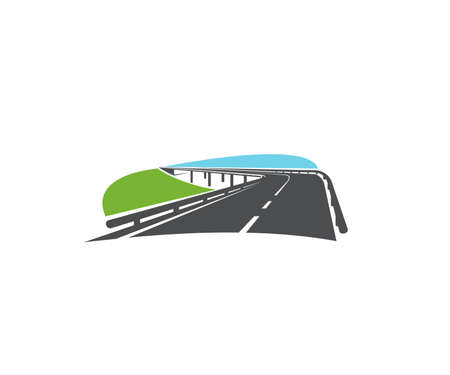 Asphalt road turn, speed highway with bridge icon. Modern speedway, transportation driveway with two roadways and guardrails vector. Transportation and road tourism emblem design element