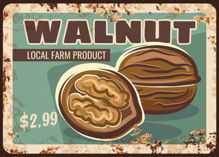 Walnut nuts metal rusty plate, market price sign, vector retro poster. Walnut in shell, organic natural raw food, culinary ingredient and snacks, farm store price metal plate rust