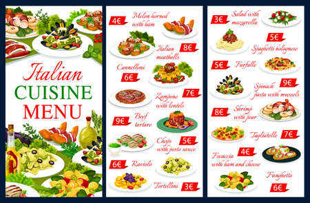 Italian cuisine vector menu food meals melon horned with ham, cannelloni, and zampone with lentils, beef tartare and chops with pesto sauce. Raviolo, tortellini, salad with mozzarella Italy dishes
