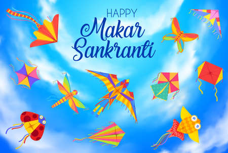 Happy Makar Sankranti day, harvest festival background with kites. Indian and Nepal hindu calendar holiday, winter solstice hinduism festival banner with flying in sky different shape kites vector 向量圖像