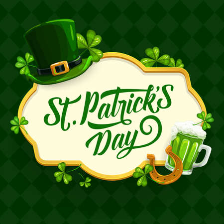 St. Patrick Day cartoon vector poster with shamrock, green hat, gold horseshoe and pint of Ireland ale around of lettering on checkered background. Saint Patricks traditional festival, celtic party