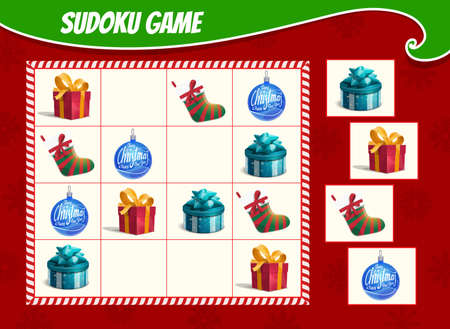 Kids sudoku game with Christmas gifts boxes, stocking and ornaments bauble. Children activity sheet, logic training puzzle or educational game with winter holiday presents and toys cartoon vector