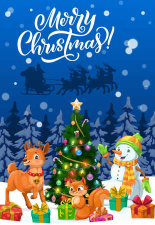 Merry Christmas vector greeting card with Santa Xmas sleigh, snowman and animals. Christmas tree, gifts and reindeer, present boxes, snow and stars, sock, candies and balls, lights and squirrel