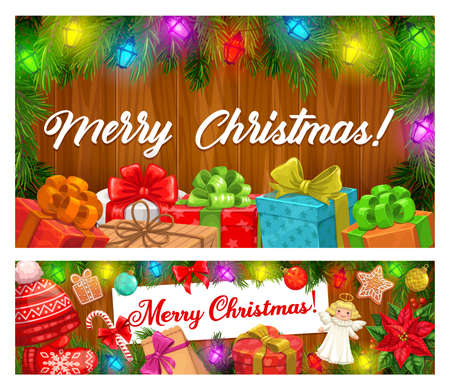 Merry Christmas vector banners of Xmas garlands and winter holiday gifts. Present boxes with ribbons and bows, candy canes, gingerbread and balls, pine tree, lights and red hat on wooden background