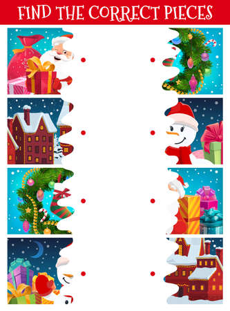 Kids Christmas puzzle, find correct piece game. Children maze with Christmas wreath ornaments, decorated with garlands houses and wrapped holiday gifts, Santa and snowman cartoon vector characters
