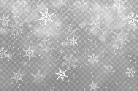 Snow transparent background, Christmas vector design. White snowflakes of Xmas and New Year winter holidays, snowfall effect of falling snow flakes with texture of ice and frost, cold snowy weather