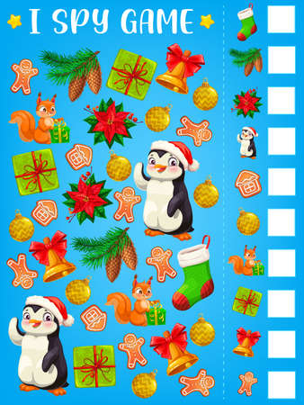 I spy game or puzzle with Christmas gifts vector template of children education. Find and count mind game, logic riddle or worksheet with Xmas bell, winter holiday present box, stocking and Santa hat Ilustração