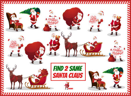 Christmas game for kids, matching activity with Santa Claus character. Child maze, find same object game with Santa carrying sack and Christmas tree, riding sleigh and drinking tea cartoon vectors