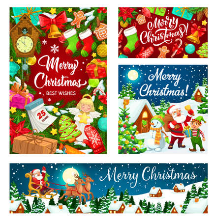 Santa and snowman with Christmas tree and gifts vector design of Xmas and New Year. Present boxes, bells and calendar, candy canes, gingerbread and snow, stars, balls and reindeer sledge, elf and sock