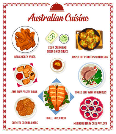Australian cuisine vector menu sour cream, green onion sauce, bbq chicken wings and crash hot potatoes with herbs. Lamb puff pastry rolls, baked beef with vegetable, meringue berry cake pavlova dishes